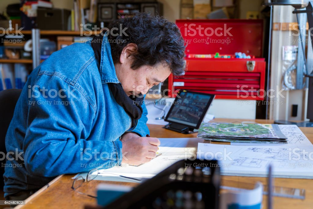 Senior male artist stock photo