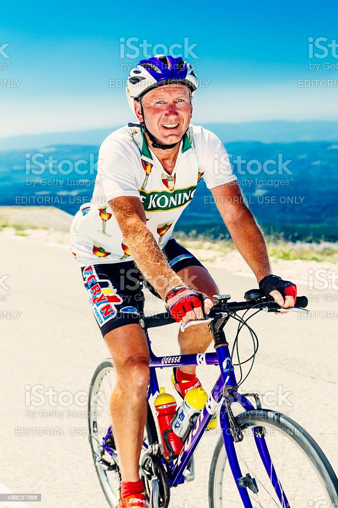 Senior male cyclist on Mont Ventoux stock photo