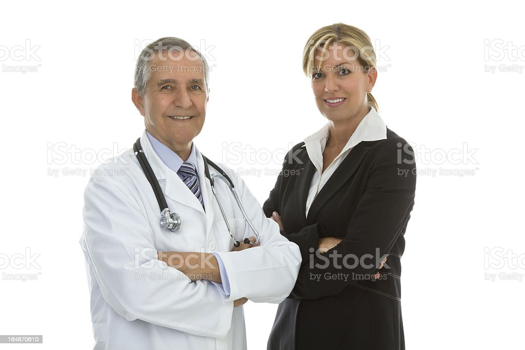 Senior male doctor with businesswoman arms crossed royalty-free stock photo