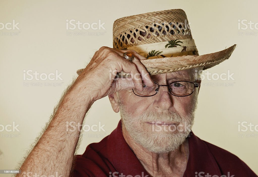 Senior Male Model Tipping Hat royalty-free stock photo