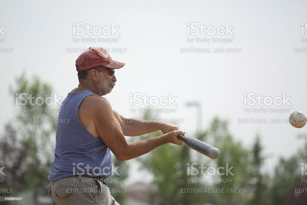 Senior male softball player royalty-free stock photo