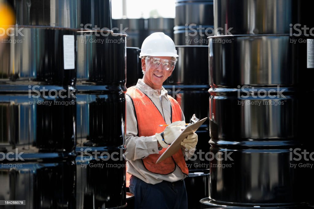 Senior male worker at industrial plant royalty-free stock photo