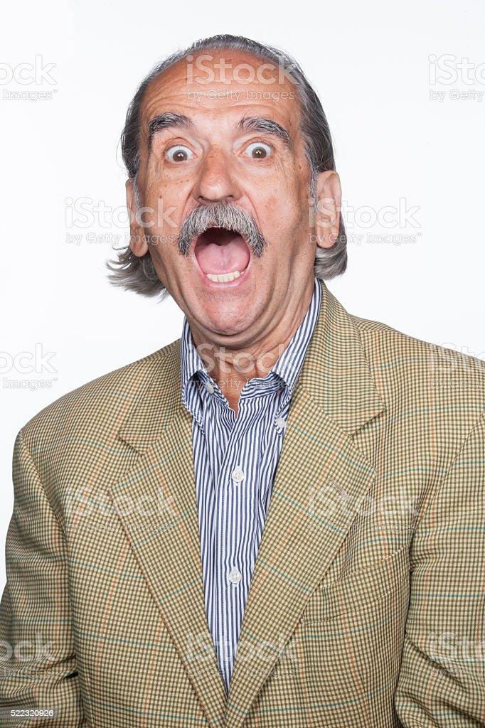 Senior man afraid stock photo