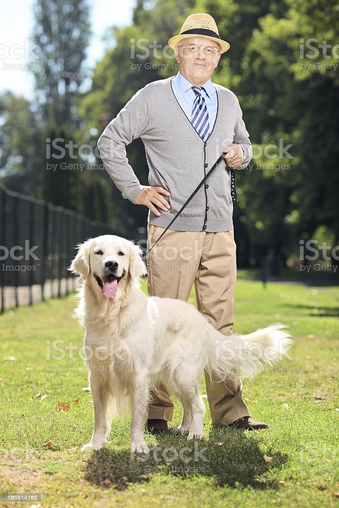 Senior man and his dog posing in the park royalty-free stock photo