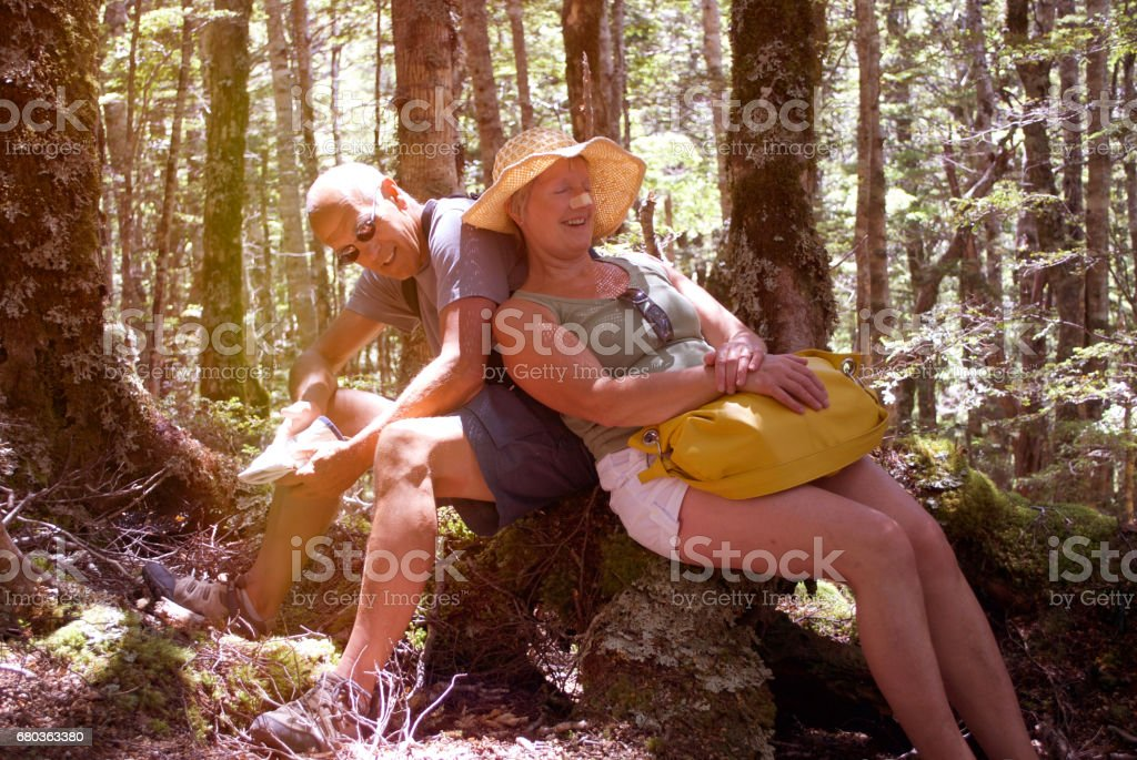 Senior Man and Woman in Forest, Summer stock photo