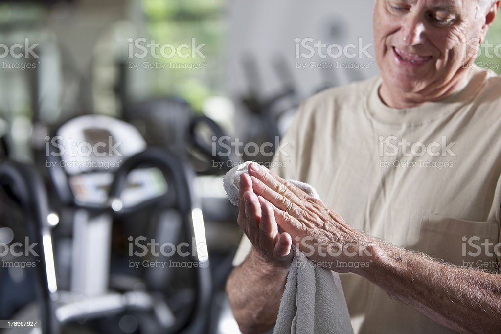 Senior man at health club royalty-free stock photo