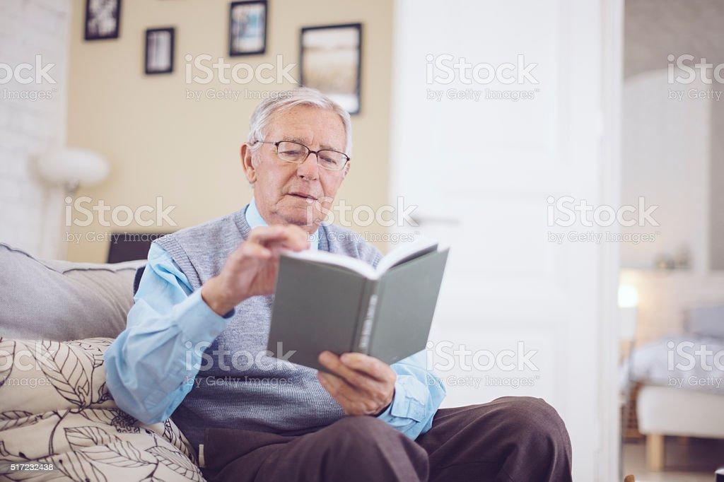 Senior man at home stock photo