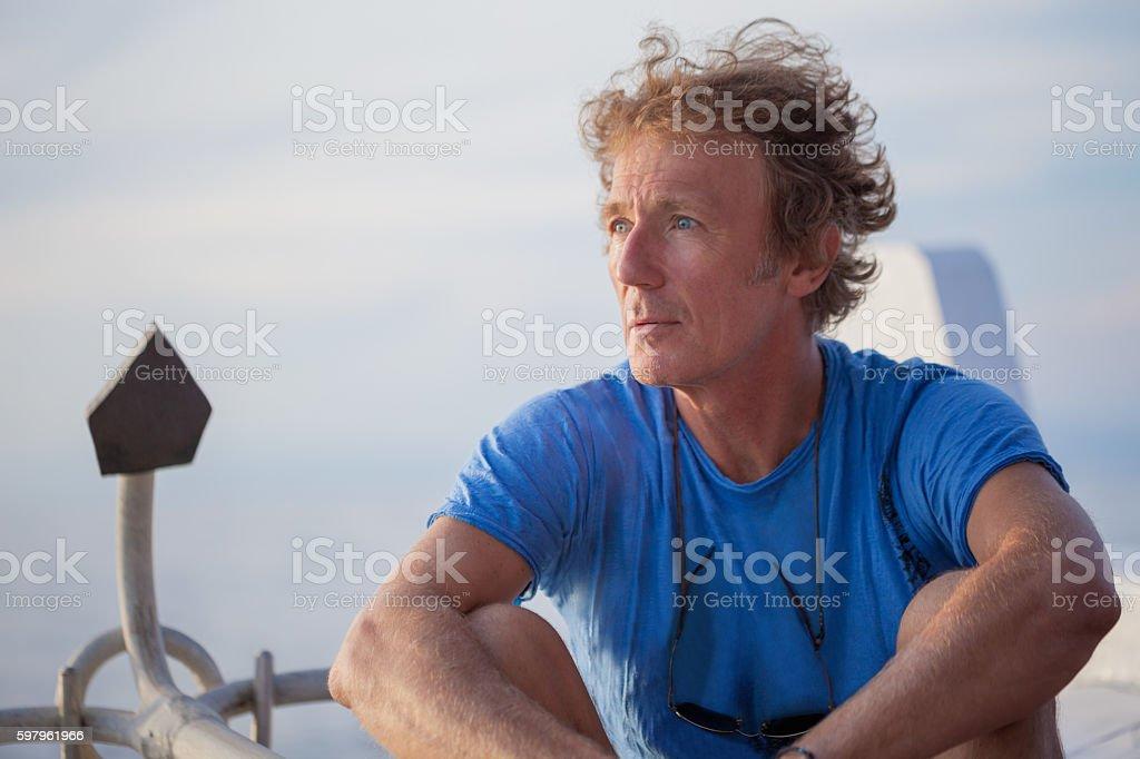 Senior man at sunset stock photo