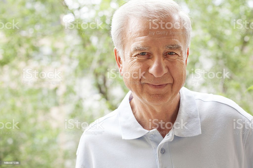 Senior man at the park stock photo