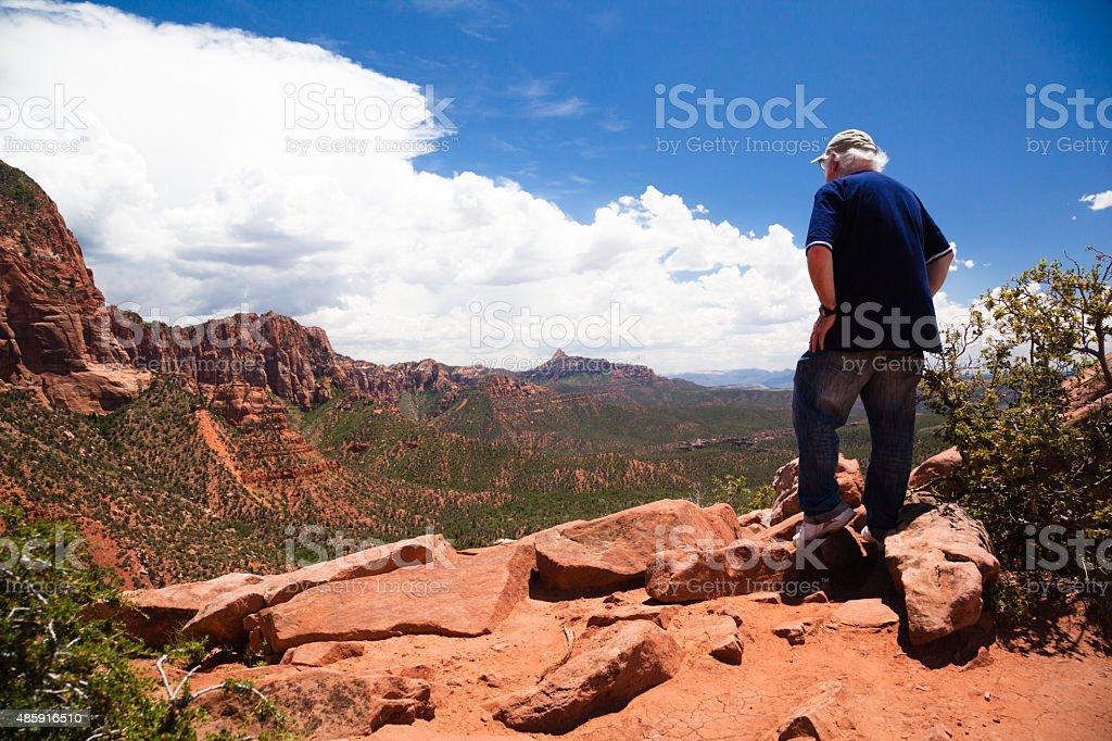 senior man awestruck by view in Kolob Canyon Utah stock photo