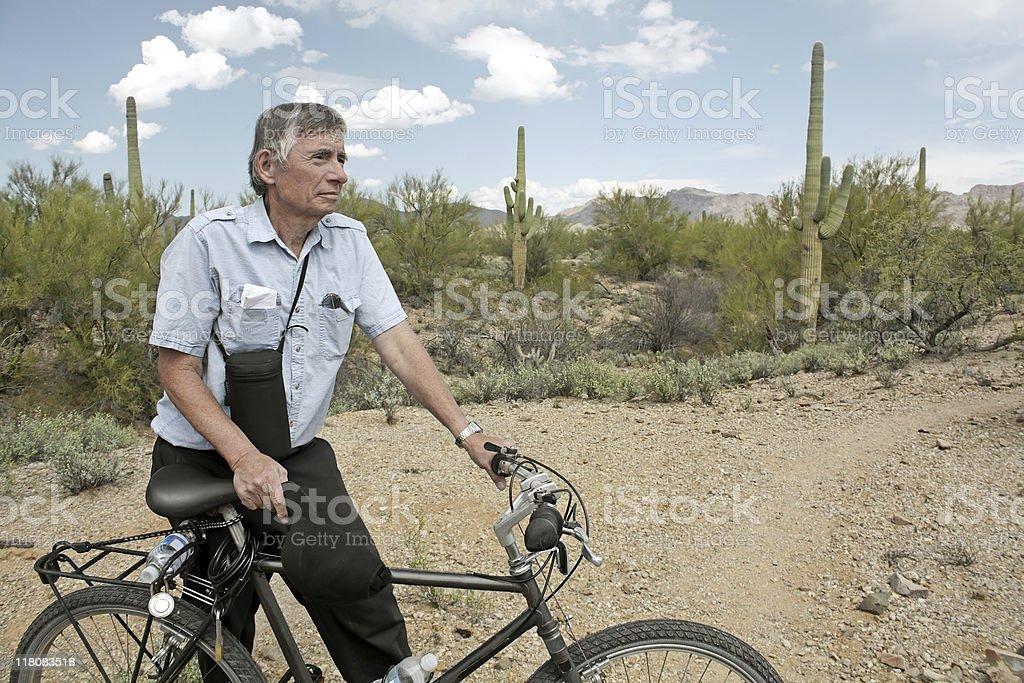Senior Man Biker stock photo