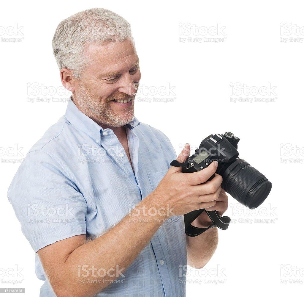 senior man camera hobby royalty-free stock photo