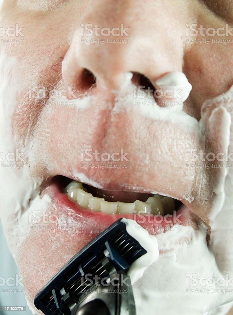 Senior man Close-up Shaving royalty-free stock photo