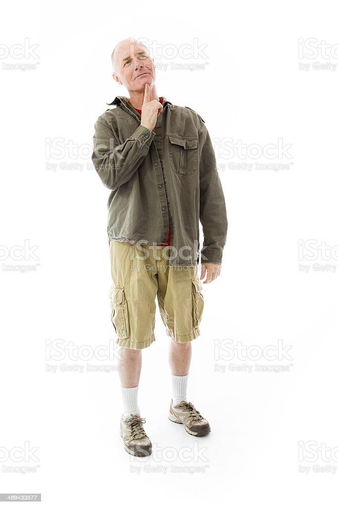 Senior man day dreaming stock photo