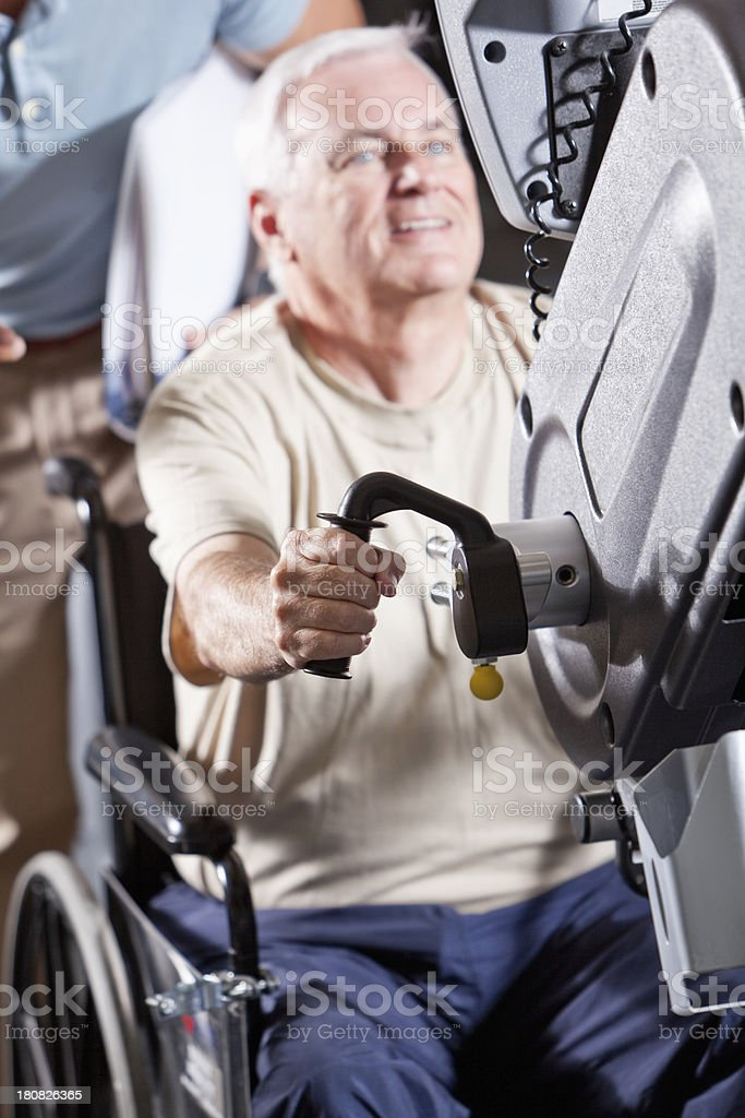 Senior man doing physical therapy royalty-free stock photo
