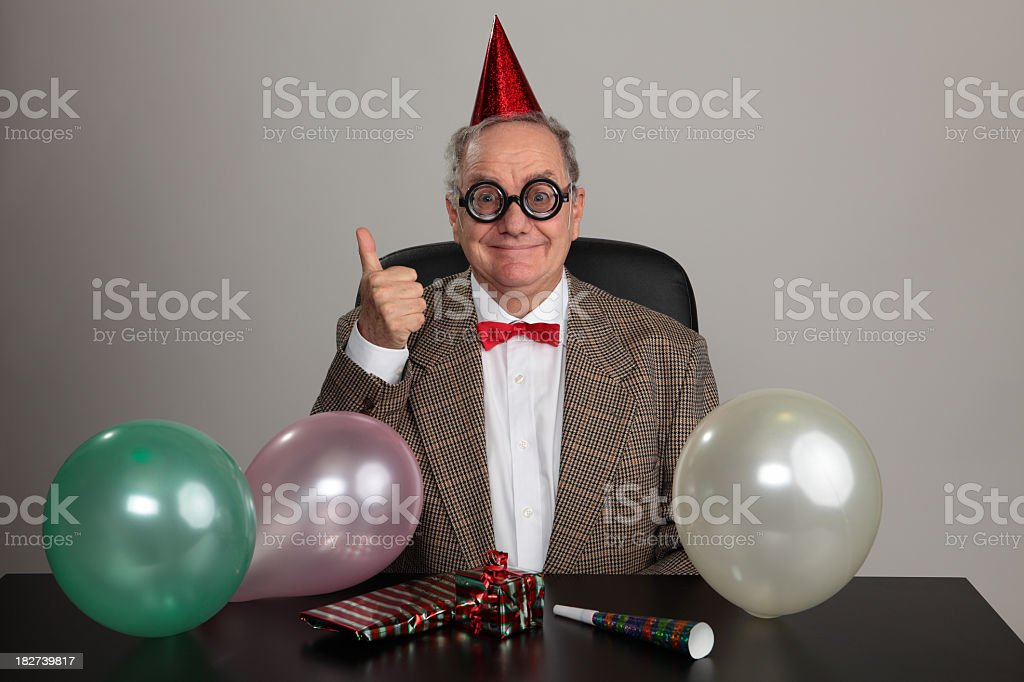 Senior man doing thumbs up ready to party stock photo