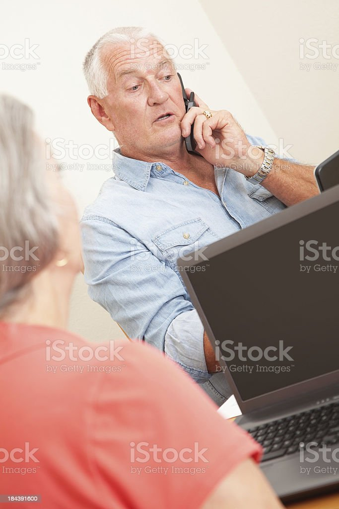 Senior Man Doing Work Home at Work-At-Home Business royalty-free stock photo
