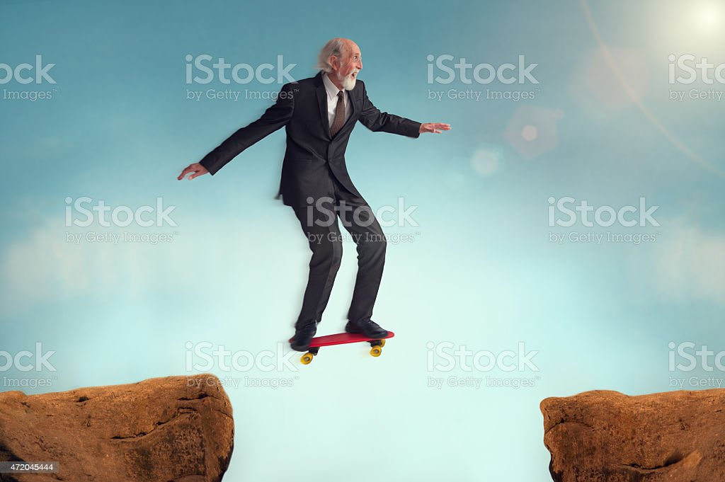 senior man enjoying the risk of a challenge stock photo