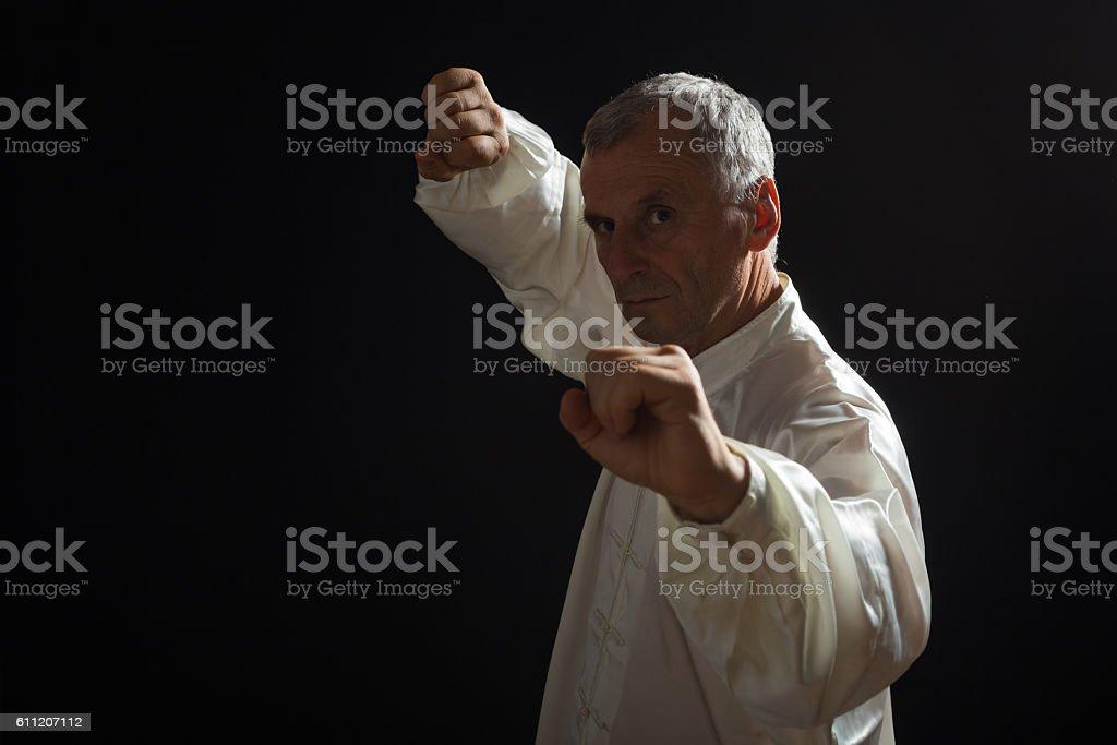 Senior man exercise  Tai Chi stock photo