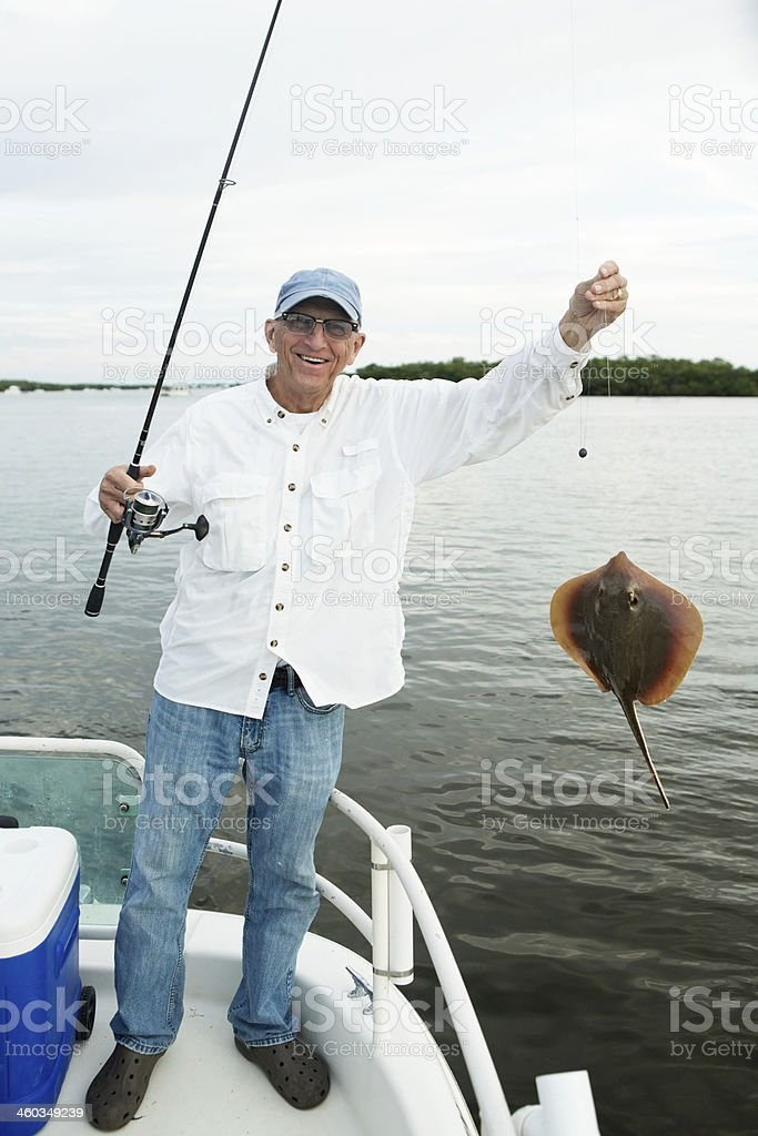 Senior Man Fishing Catches a Stingray royalty-free stock photo