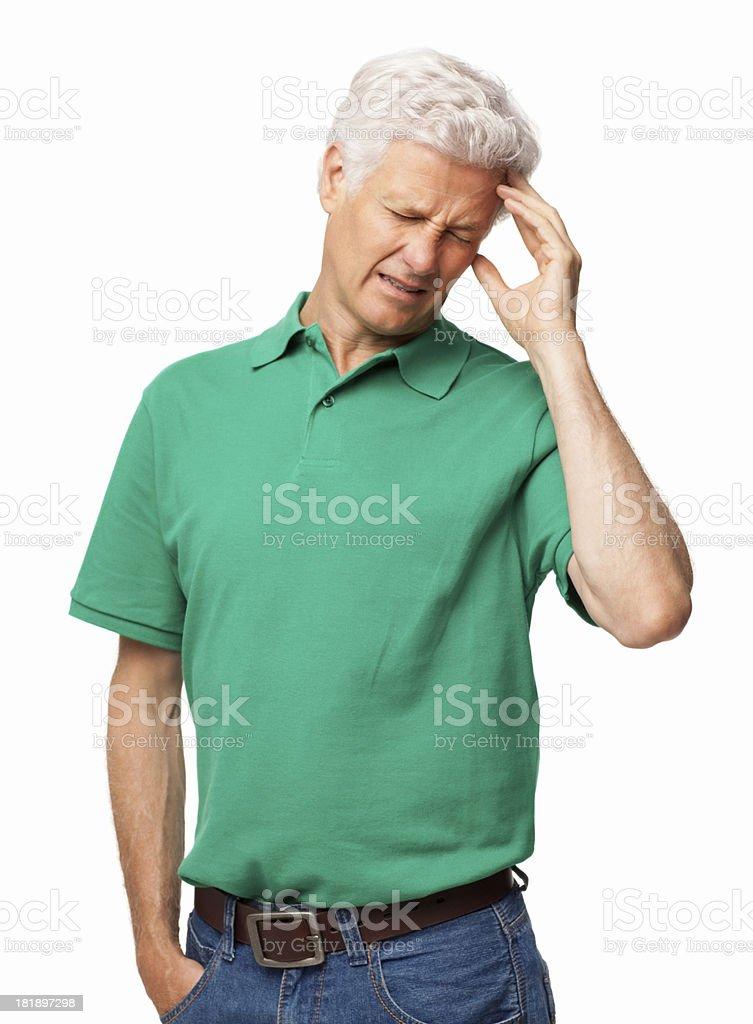 Senior Man From Severe Headache - Isolated royalty-free stock photo