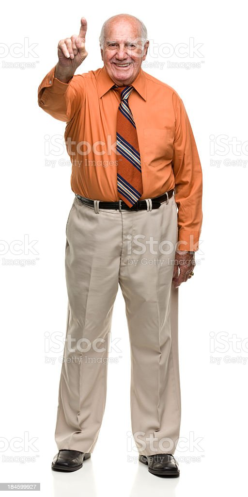 Senior Man Gives Number One Gesture stock photo