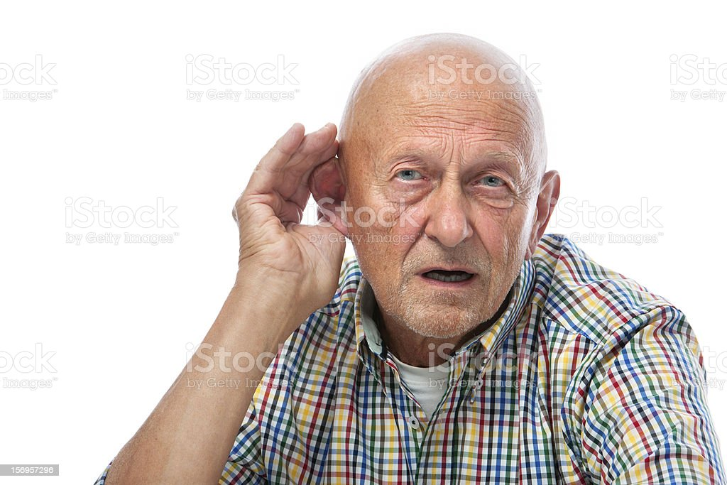 Senior man hard of hearing stock photo
