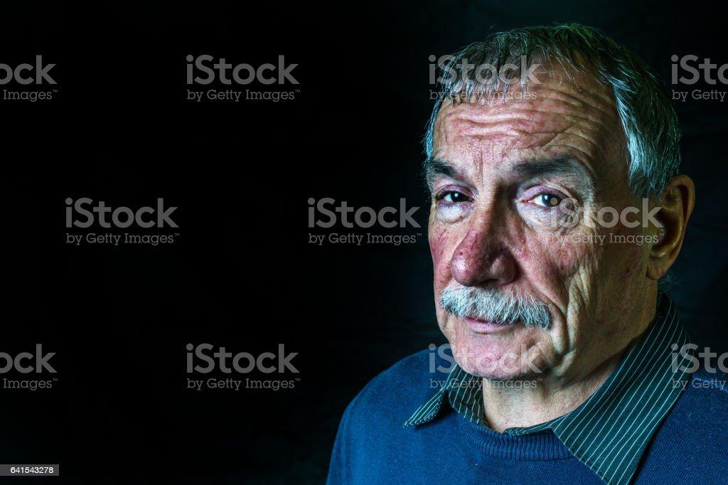 Senior man headshot portrait stock photo
