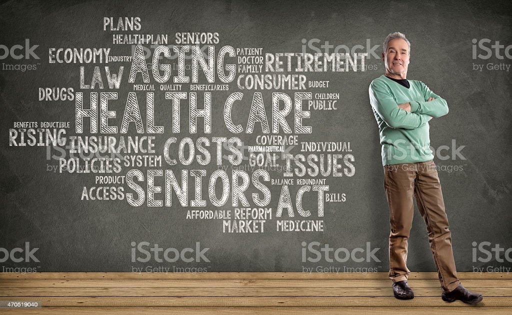 Senior Man, Health Care Word Cloud on Blackboard background stock photo