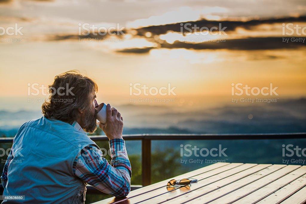 Senior Man Hiking stock photo