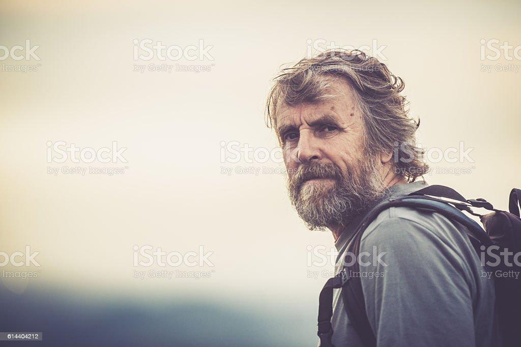 Senior Man Hiking Portrait stock photo