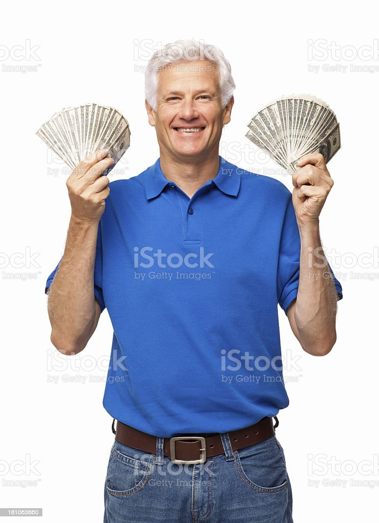Senior Man Holding Fanned Out Banknotes - Isolated royalty-free stock photo