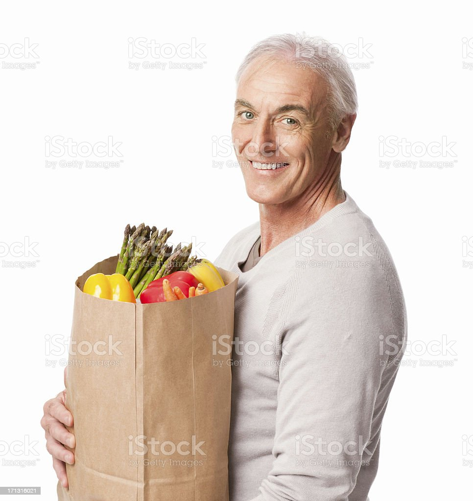 Senior Man Holding Groceries - Isolated royalty-free stock photo