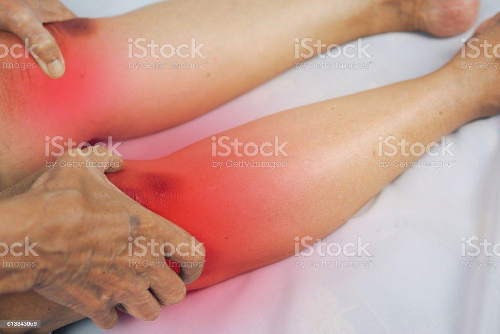 senior man holding he knee on pain area stock photo