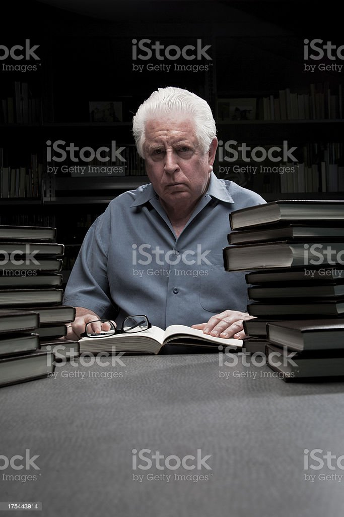 Senior Man in a Library stock photo
