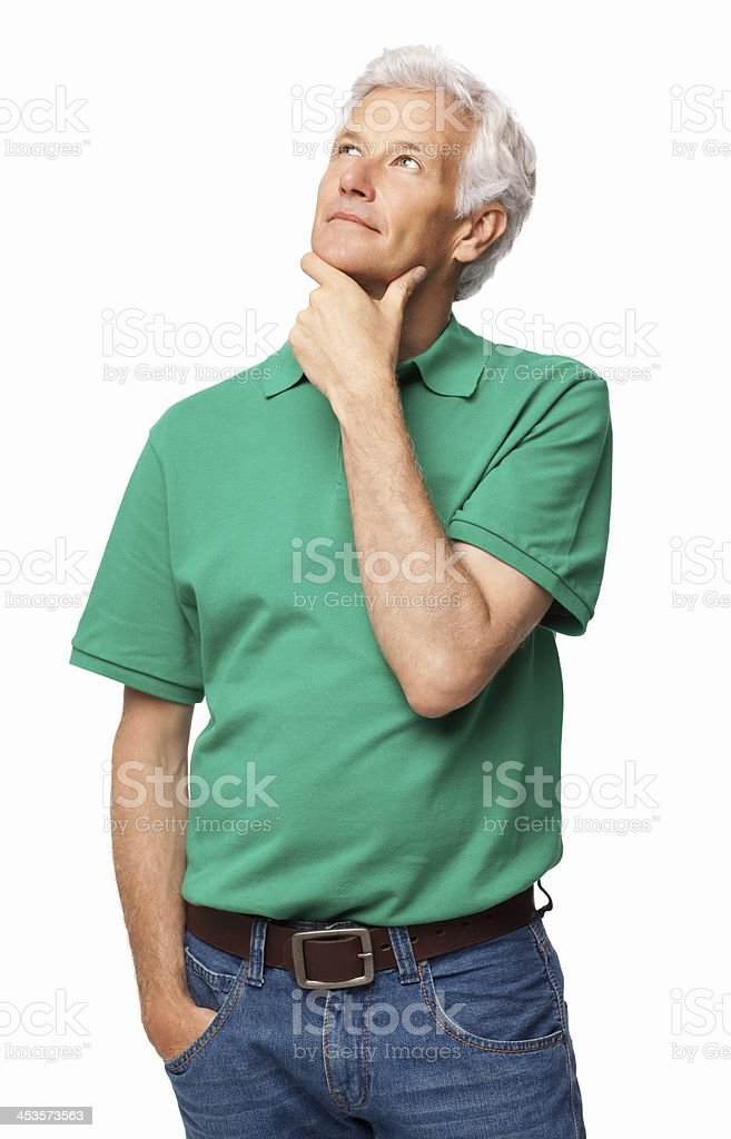Senior Man In Deep Thought - Isolated royalty-free stock photo