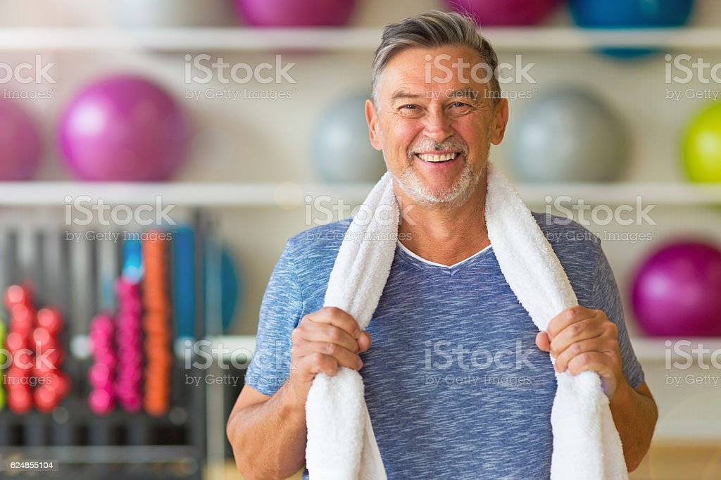Senior man in health club stock photo