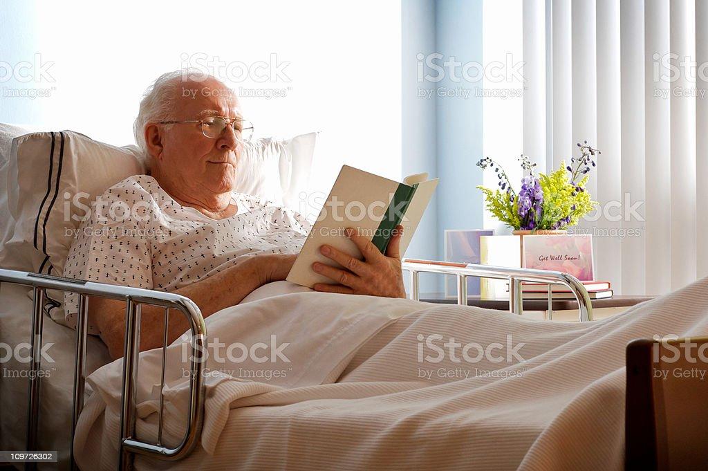 Senior man in hospital bed. royalty-free stock photo