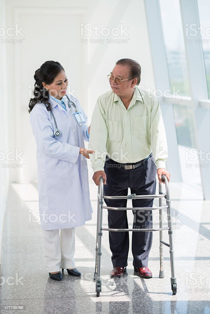 Senior man in hospital stock photo