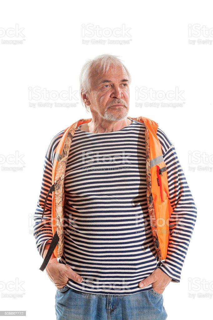 Senior man in life vest stock photo