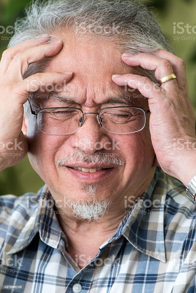 Senior Man in Pain stock photo