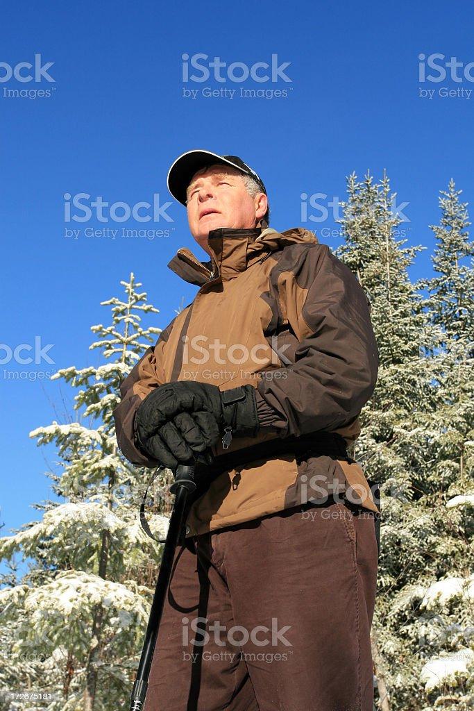 Senior Man in Snowshoe Trail Loking Up royalty-free stock photo