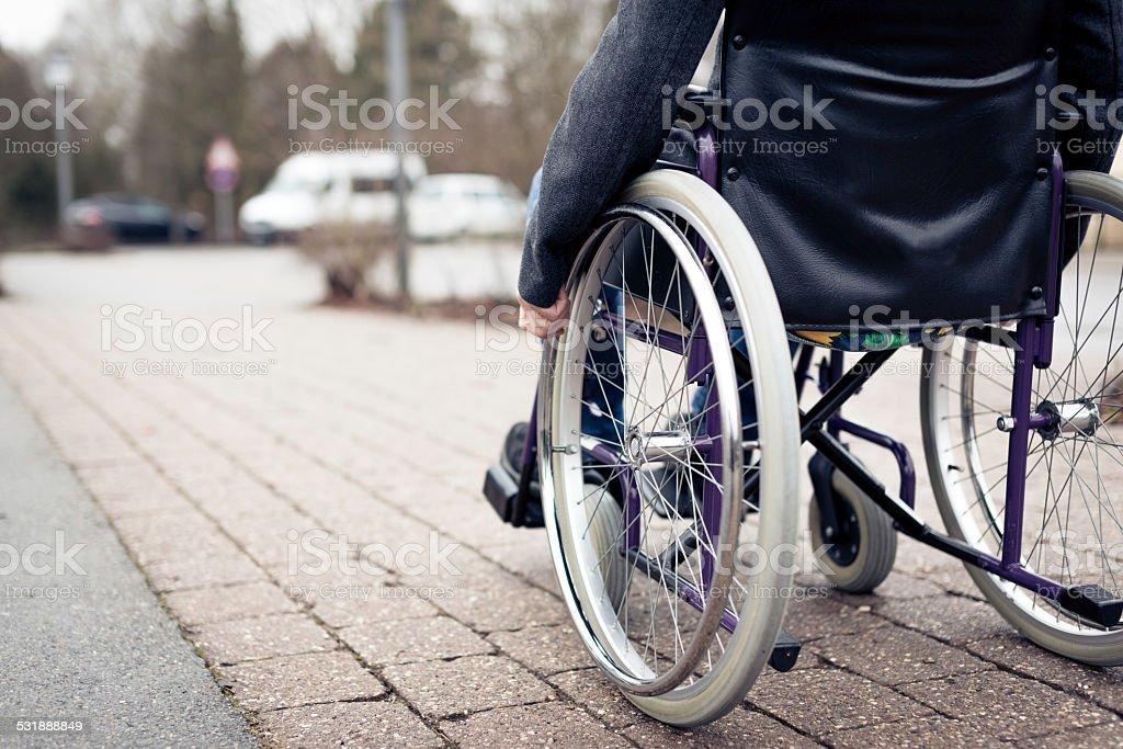 senior man in wheelchair stock photo