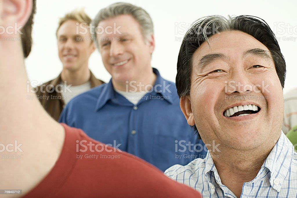 Senior man laughing stock photo