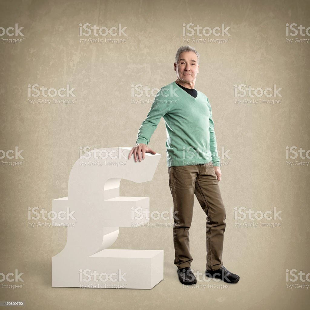Senior Man, leaning on a Pound sign - Grunge Background stock photo