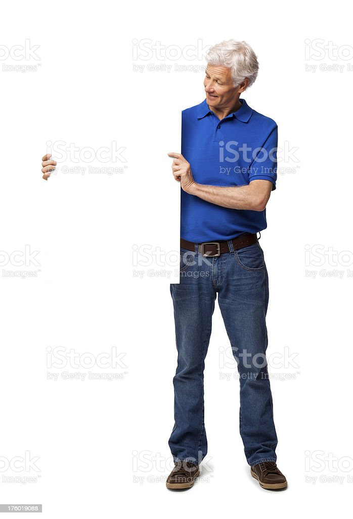Senior Man Looking At Blank Sign - Isolated royalty-free stock photo