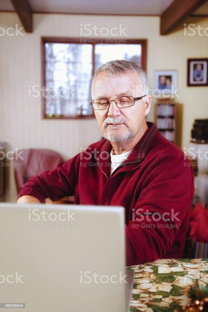 Senior Man looking at laptop royalty-free stock photo