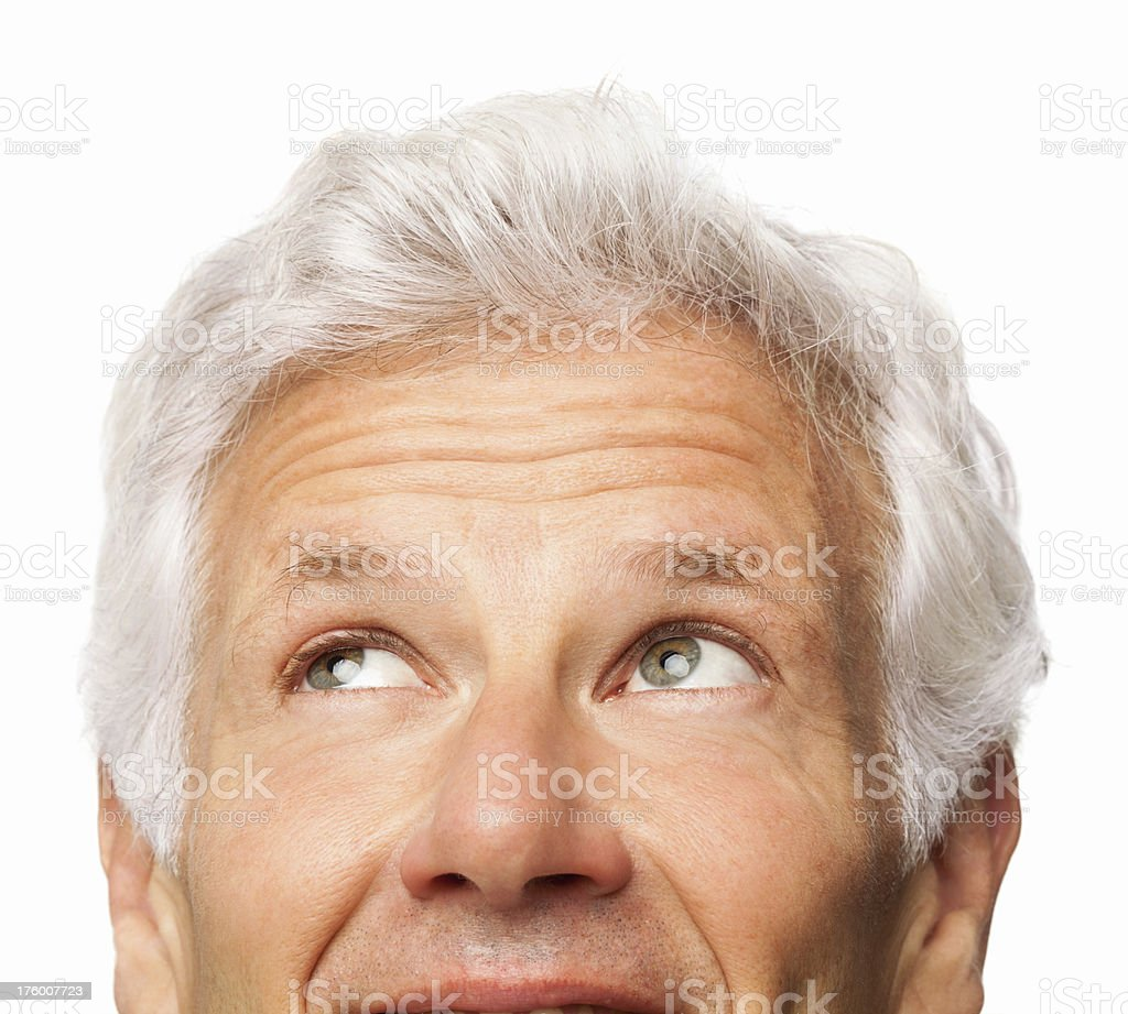 Senior Man Looking Away - Isolated royalty-free stock photo