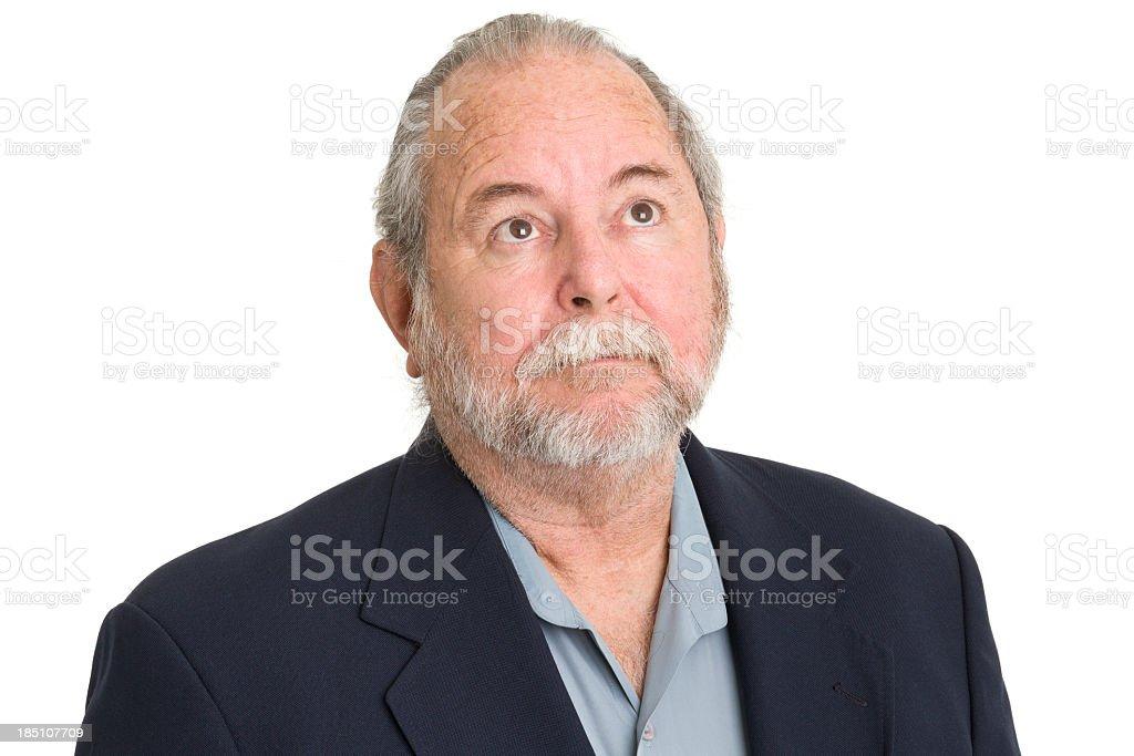 Senior Man Looks Up royalty-free stock photo