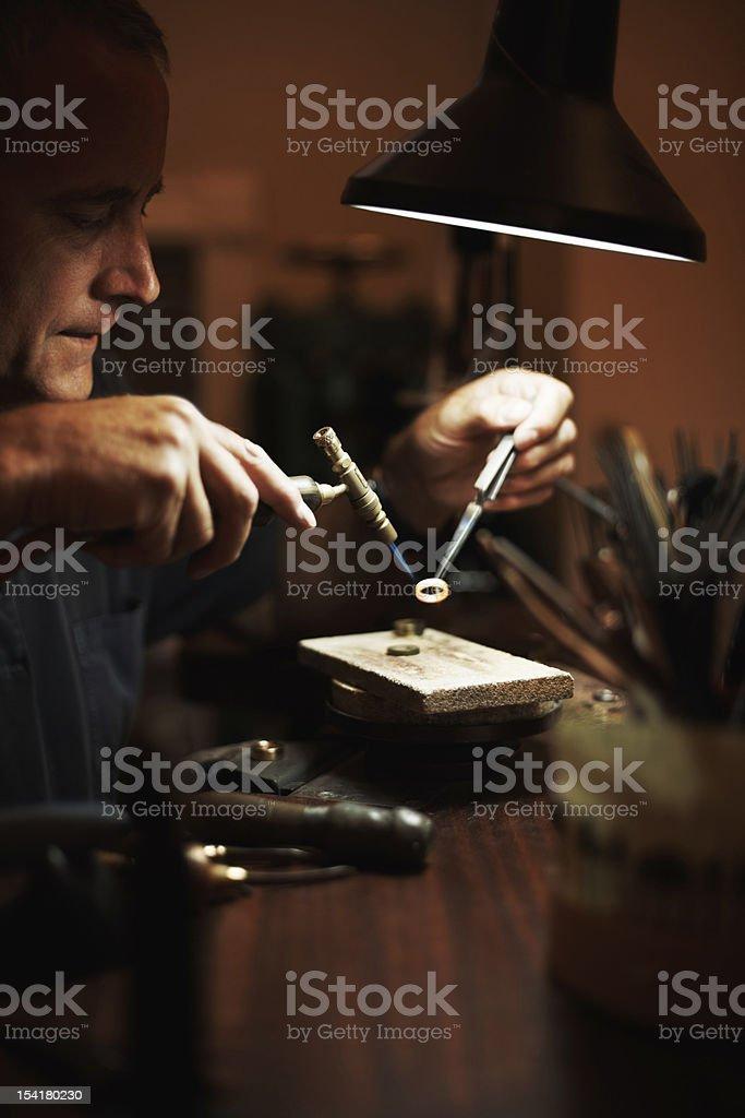 Senior man making a ring stock photo